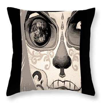 Throw Pillow featuring the painting Ojo Del Dia De Los Muertos by Paula Ayers