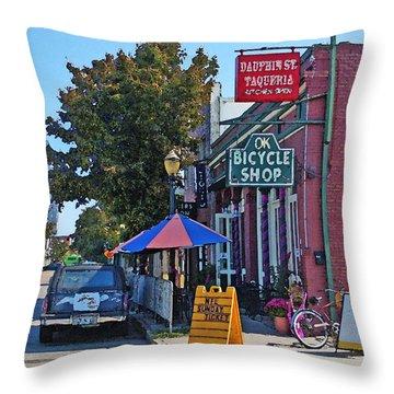 Ok Bicycle Yellow Sign Throw Pillow