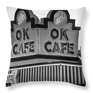 Ok Cafe Neon 2 B W Atlanta Classic Landmark Restaurant Art Throw Pillow