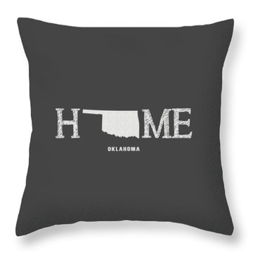 Throw Pillow featuring the mixed media Ok Home by Nancy Ingersoll