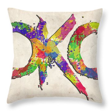 Okc Typography Watercolor Throw Pillow