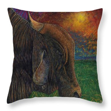 Okeechobee Brahman Throw Pillow by David Joyner