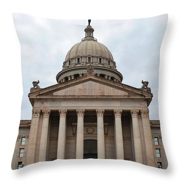 Oklahoma State Capitol - Front View Throw Pillow