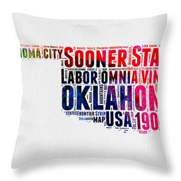 Oklahoma Watercolor Word Cloud  Throw Pillow