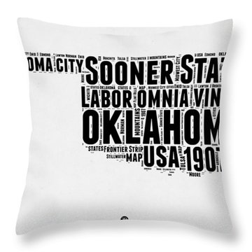 Oklahoma Word Cloud 2 Throw Pillow
