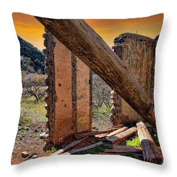 Ol' Building In Desert's Winter Warmth Throw Pillow by Charles Ables