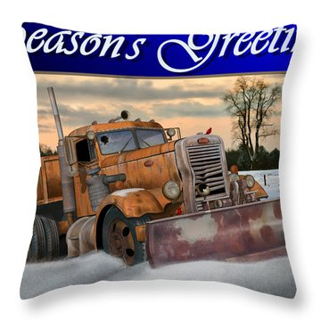 Throw Pillow featuring the digital art Ol' Pete Snowplow Christmas Card by Stuart Swartz