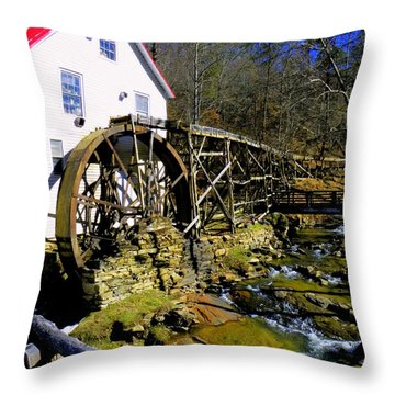 Old 1886 Mill Throw Pillow by Karen Wiles