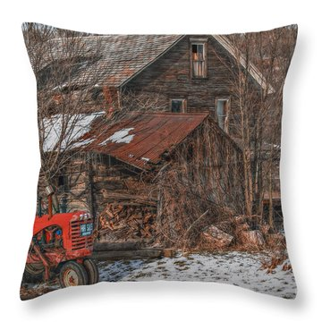 Old Abandoned Farm Homestead Throw Pillow