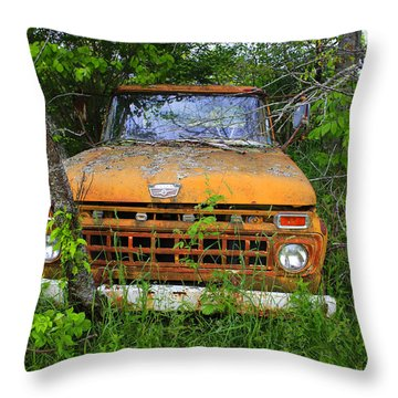 Old Abandoned Ford Truck In The Forest Throw Pillow
