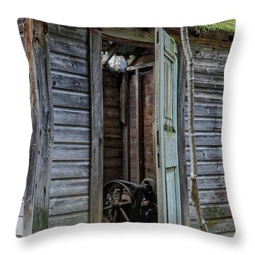 Old Abandoned Pump House Throw Pillow