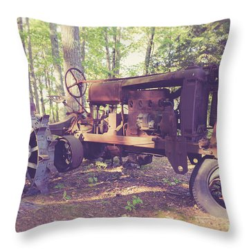 Old Abandoned Tractor In The Woods Throw Pillow