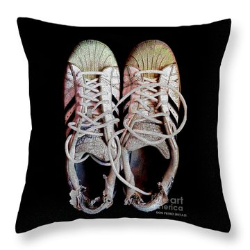 Throw Pillow featuring the photograph Old Adidas Supestar II by Don Pedro De Gracia