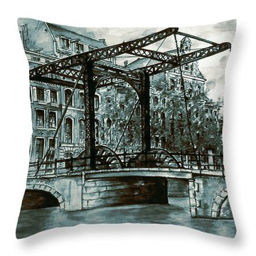 Old Amsterdam Bridge In Dutch Blue Water Colors Throw Pillow