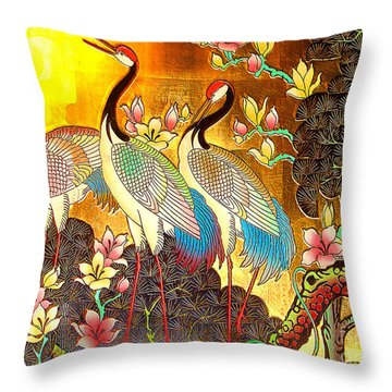 Old Ancient Chinese Screen Painting - Cranes Throw Pillow by Merton Allen