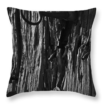 Old And Abandoned Wooden Door With Skeleton Keys Throw Pillow