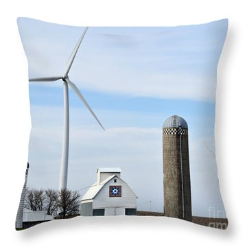 Old And New Farm Site Throw Pillow by Kathy M Krause