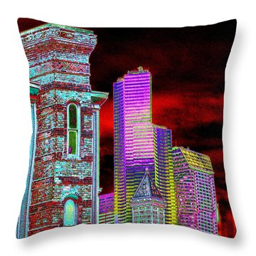 Old And New Seattle Throw Pillow by Tim Allen