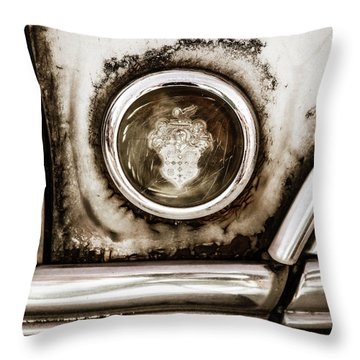 Throw Pillow featuring the photograph Old And Worn Packard Emblem by Marilyn Hunt