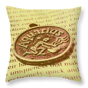 Old Aquarius Astrology Throw Pillow