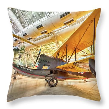 Throw Pillow featuring the photograph Old Army Biplane by Lara Ellis