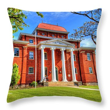 Old Ashe Courthouse Throw Pillow by Dale R Carlson