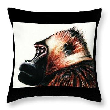Old Baboon Animal Art Drawing Throw Pillow