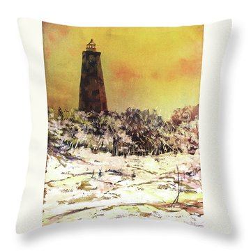 Throw Pillow featuring the painting Old Baldy Lighthouse- North Carolina by Ryan Fox