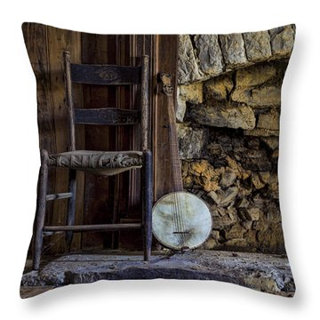 Old Banjo Throw Pillow by Heather Applegate