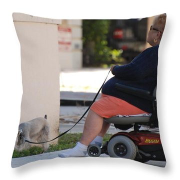 Old Barefoot Women Throw Pillow by Rob Hans