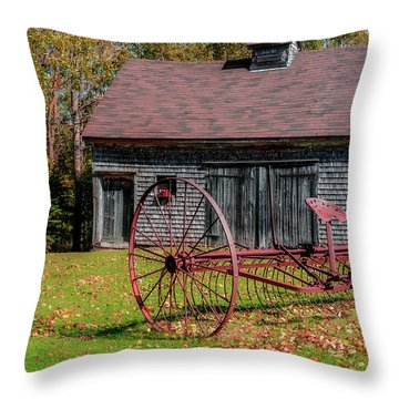 Old Barn And Rusty Farm Implement 02 Throw Pillow by Ken Morris