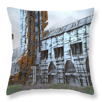 Old Barn And Silo Throw Pillow