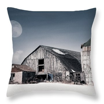 Old Barn And Winter Moon - Snowy Rustic Landscape Throw Pillow