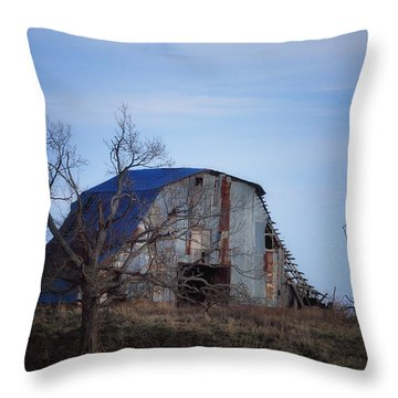 Old Barn At Hilltop Arkansas Throw Pillow