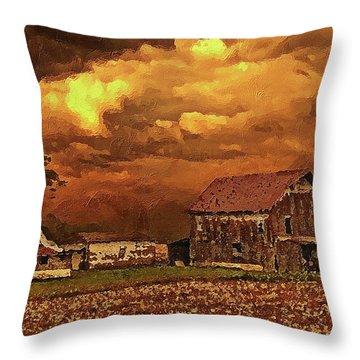 Throw Pillow featuring the digital art Old Barn At Sunset by PixBreak Art