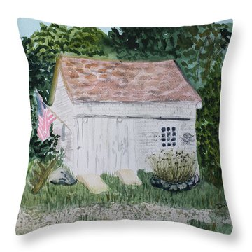 Throw Pillow featuring the painting Old Barn In Eastham Ma by Donna Walsh
