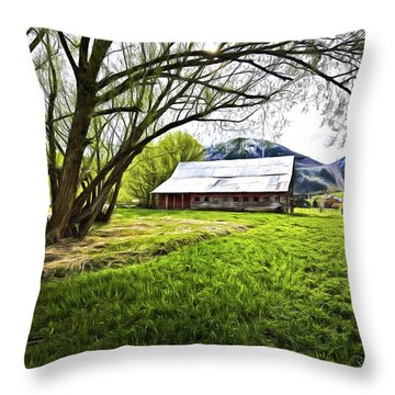 Old Barn In Eden Utah Throw Pillow by James Steele