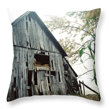 Old Barn In The Morning Mist Throw Pillow
