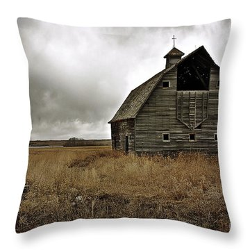 Old Barn Throw Pillow by Linda Bianic