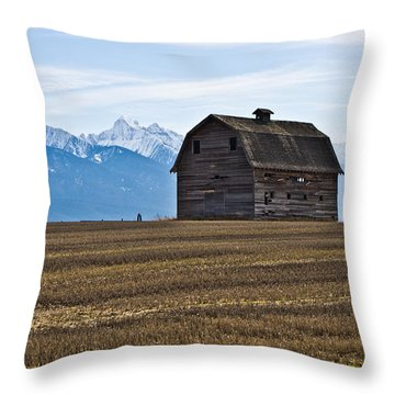Old Barn, Mission Mountains 2 Throw Pillow
