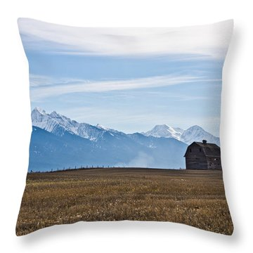 Old Barn, Mission Mountains Throw Pillow