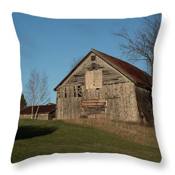 Old Barn On A Hill Throw Pillow