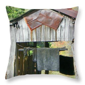 Old Barn Up Close Throw Pillow