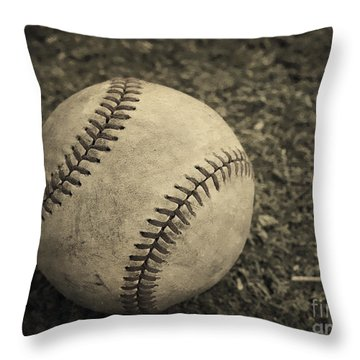 Old Baseball Throw Pillow by Edward Fielding