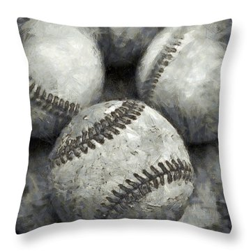Old Baseballs Pencil Throw Pillow by Edward Fielding