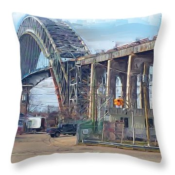 Old Bayonne Bridge Throw Pillow by Rod Pena