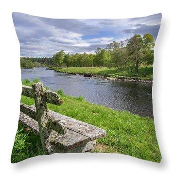 Old Bench Along Spey River, Scotland Throw Pillow