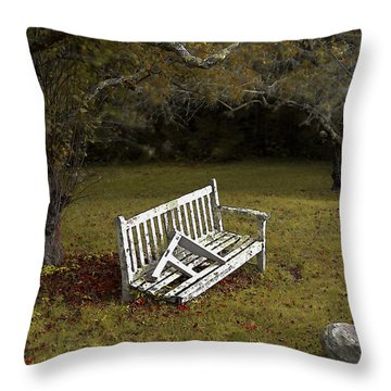 Old Benches Throw Pillow