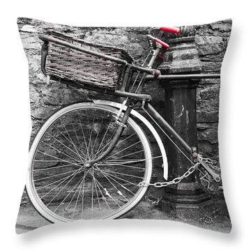 Old Bicycle Throw Pillow by Helen Northcott