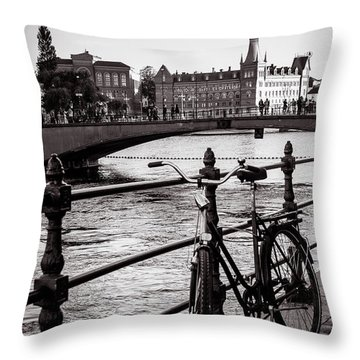 Old Bicycle In Central Stockholm Throw Pillow